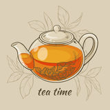 Teapot. Vector Illustration with glass teapot on brown  background Stock Photo