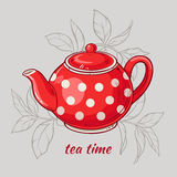 Teapot. Vector Illustration with red teapot on grey  background Stock Photos