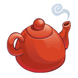 Teapot vermelho isolado no branco Imagens de Stock