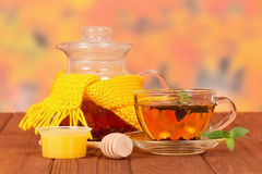 Teapot With Mint Tea And Honey Stock Image