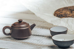 Teapot from Yixing clay for Chinese tea ceremony on rustic wooden background Stock Photo