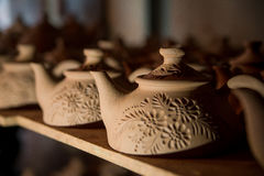 Teapots αργίλου αποθήκευση Στοκ Φωτογραφία