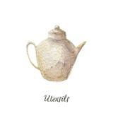 Teapots σμάλτων και πορσελάνης, καφετιέρα, απεικόνιση watercolor στην άσπρη σειρά εργαλείων κουζινών Στοκ εικόνα με δικαίωμα ελεύθερης χρήσης