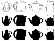 Teapots. The image of teapots as silhouettes and contours Stock Illustration