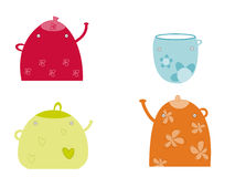 Teapots. Funny colorful teapots and a cup Royalty Free Stock Photo