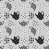 Teapots black and white patchwork seamless pattern Stock Image