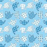 Teapots blue patchwork seamless pattern vector illustration