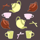 Teapots and cups Royalty Free Stock Image