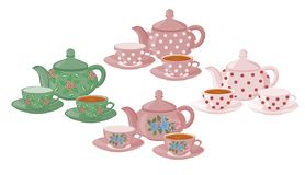 Teapots and cups with different patterns. stock illustration