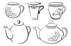 Teapots and Cups Pictograms Royalty Free Stock Image