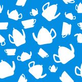 Teapots and cups seamless pattern. royalty free illustration