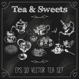 Teapots and cups set blackboard Stock Photo