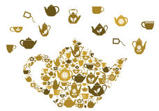 Teapots and cups of tea Stock Image