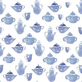 Teapots with cups. Vector pattern with teapots and cups. Kitchen decor Royalty Free Stock Photo
