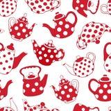 Teapots czerwień i biały bezszwowy wzór Obraz Stock