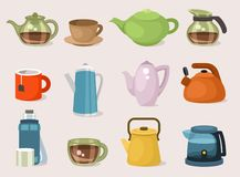 Teapots, kettles and cups stock image