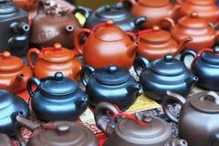 Teapots market Stock Image