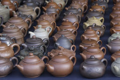 Teapots market Stock Photo