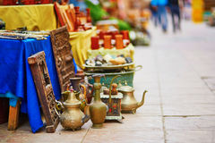 Teapots on Moroccan market in Essaouira, Morocco. Teapots on Moroccan market (souk) in Essaouira, Morocco Stock Images