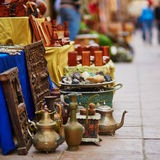 Teapots on Moroccan market in Essaouira, Morocco. Teapots on Moroccan market (souk) in Essaouira, Morocco Stock Image