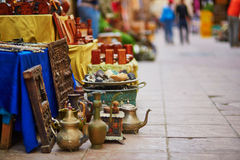 Teapots on Moroccan market in Essaouira, Morocco. Teapots on Moroccan market (souk) in Essaouira, Morocco Stock Photography