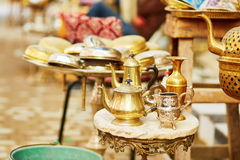 Teapots on Moroccan market in Fes, Morocco Royalty Free Stock Images