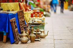 Teapots on Moroccan market. (souk) in Essaouira, Morocco Stock Images