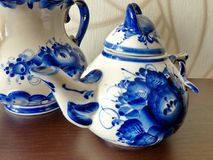 Teapots in Russian traditional Gzhel style. Gzhel - Russian folk craft of ceramics Royalty Free Stock Photo