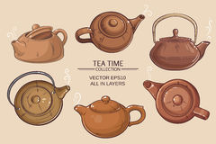 Teapots set. Teapots vector set on color background Royalty Free Stock Image