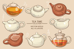 Teapots set. Teapots vector set on color background Royalty Free Stock Images