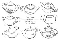 Teapots set. Vector set of teapots on white background Royalty Free Stock Photo
