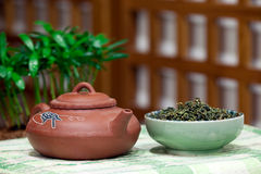 Teapots and tea. For background use Royalty Free Stock Images