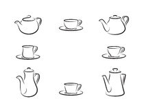 Teapots and tea cups. Simple illustrations set Royalty Free Stock Photos