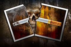 Tear the cigarette photo. Damage tear a burning cigarette photo paper on the human skull background in concept of stop and no smoking because of bring to die Stock Photos