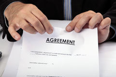 Tear Contract. Cancel contract. End of cooperation royalty free stock photography