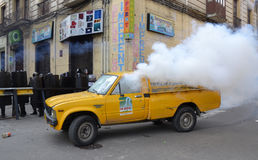 Tear Gas In Bolivia Royalty Free Stock Photos