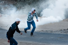Tear Gas at Jerusalem Protest Royalty Free Stock Photography