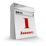 Tear-off calendar 2011. Isolated over white background Stock Images