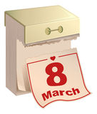 Tear-off calendar 8 of March. International Womens Day. English text Royalty Free Stock Images
