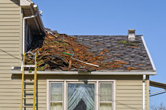 Tear Off of Old Shingled Roof Stock Photography