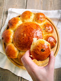 Tear and share loaf with raisin. On board Royalty Free Stock Images
