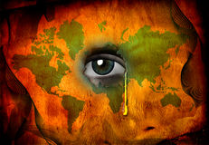 Tear shed for world. In green orange Royalty Free Stock Photo