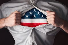 Tear shirt on chest, super hero on guard America, Royalty Free Stock Image