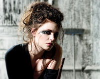 Tear-stained face of beautiful girl Royalty Free Stock Photography