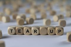 Tear up - cube with letters, sign with wooden cubes Stock Photos