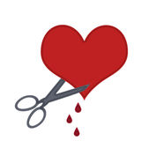 Tear your heart open. Scissors cutting a heart open Royalty Free Stock Photography