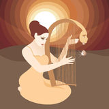Teardrop. Woman with Harp. In the woman and the background are on separate layers, so they can easily be moved or edited individually Stock Images