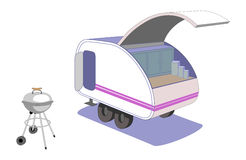 Teardrop trailer and cool retro grill. Parked and ready to cook supper, this tiny teardrop trailer to haul behind your car is a fun way to go camping. Vector Royalty Free Stock Photography