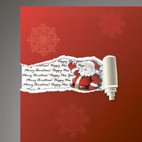 Teared paper background with Santa. Decorative hand drawing snowflakes and place for your text Stock Photos