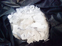 Teared papers in bag Stock Images